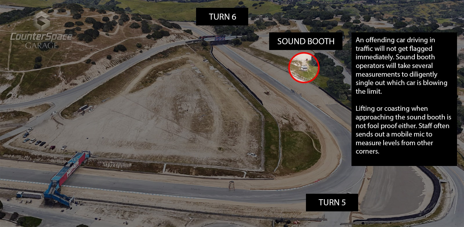 Laguna Seca Sound Booth Location Map